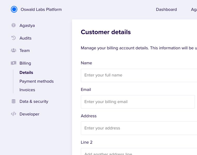 Screenshot of billing page
